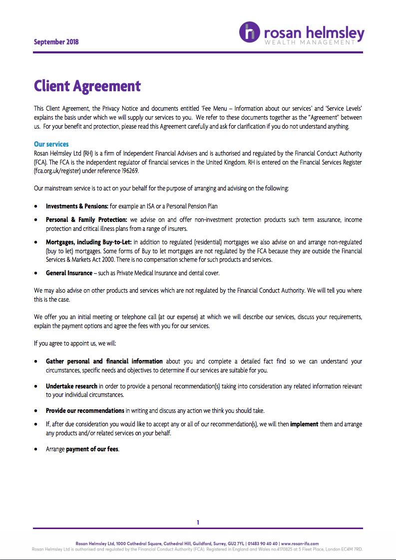 Client Agreement September 2018 Rosan Helmsley