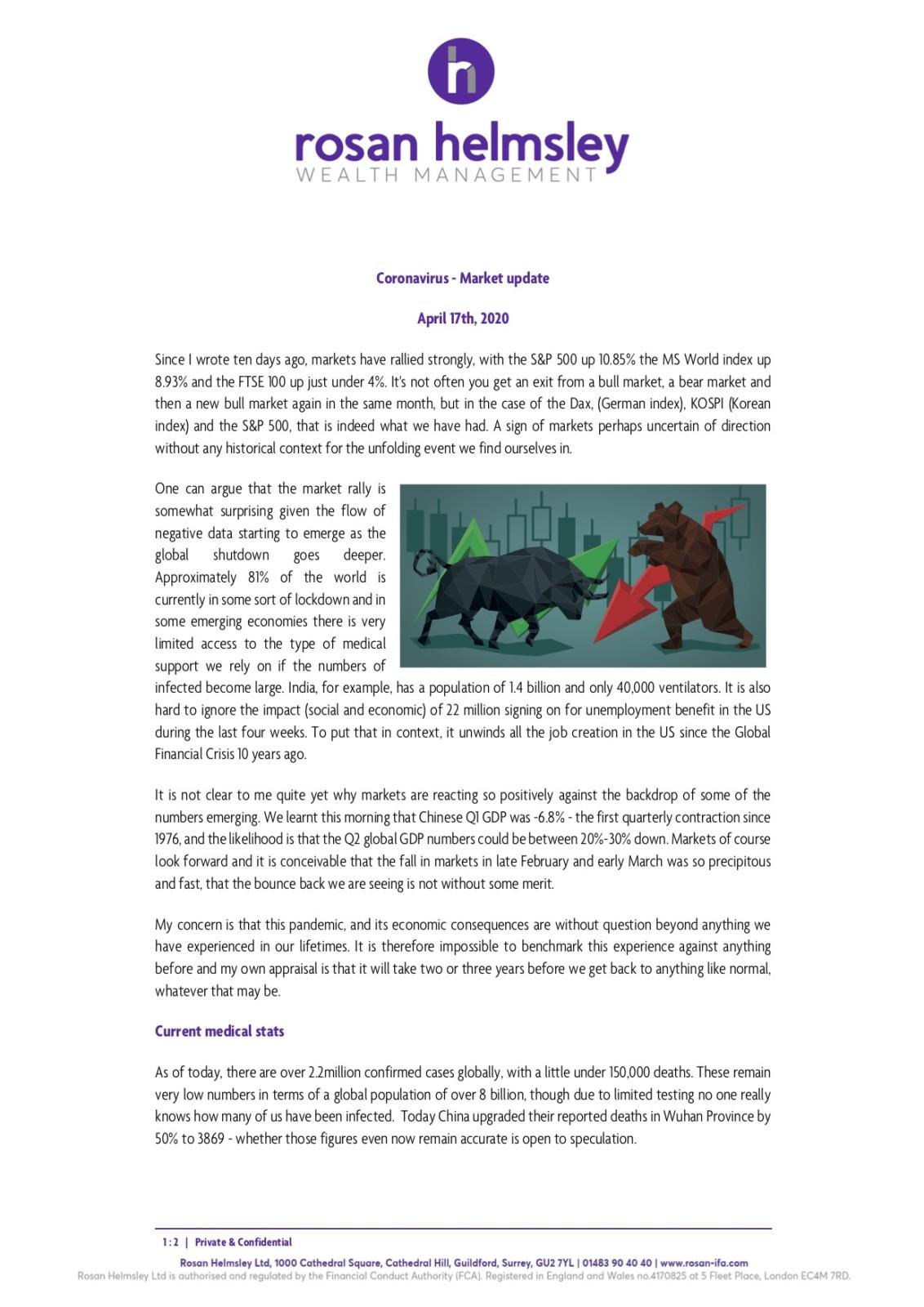 Coronavirus update – 17th April 2020