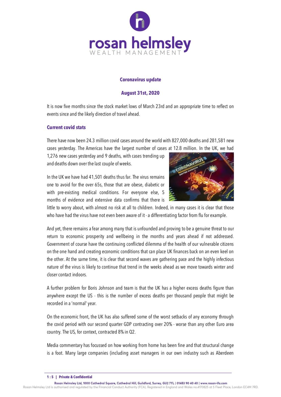 Coronavirus update – 31st August 2020